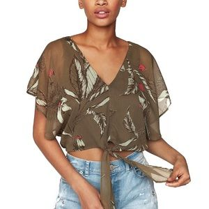 Express Floral Chiffon Tie-front Crop Top